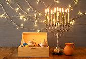 Low key Image of jewish holiday Hanukkah
