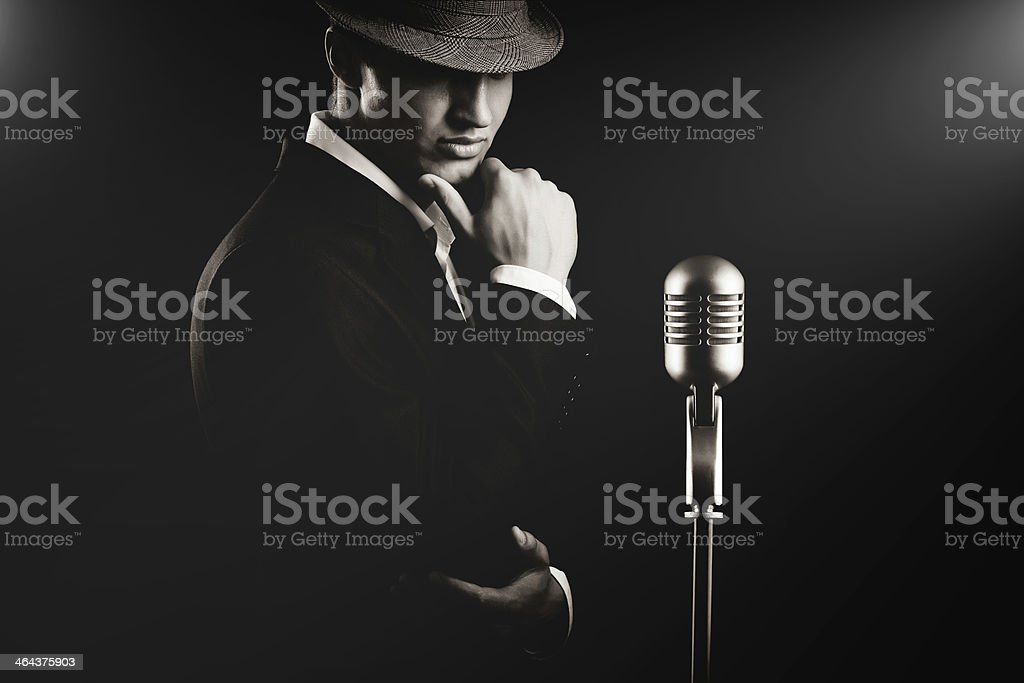 low key portrait of jazz singer stock photo