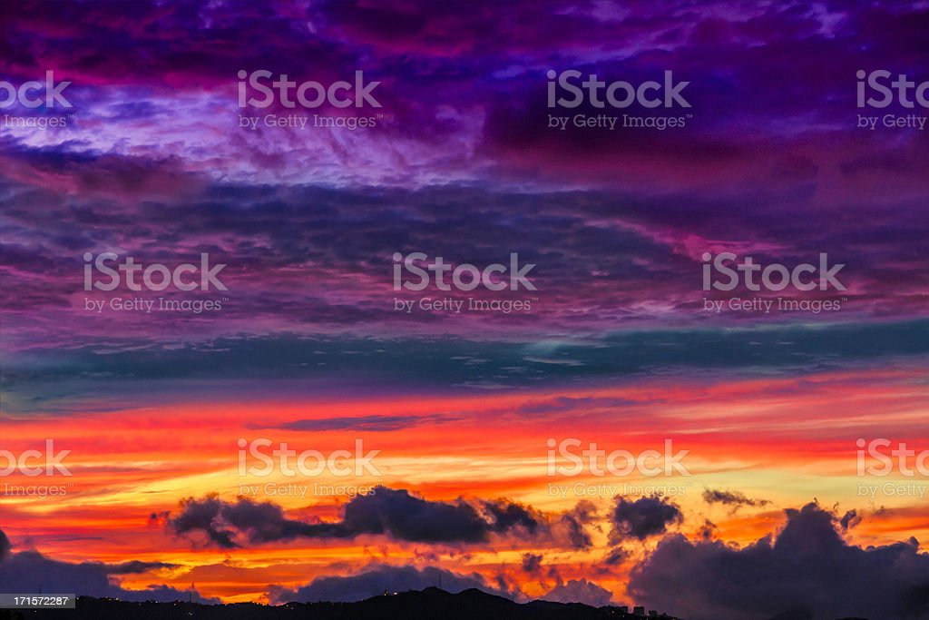 Low key vibrant colors of a sunset background stock photo