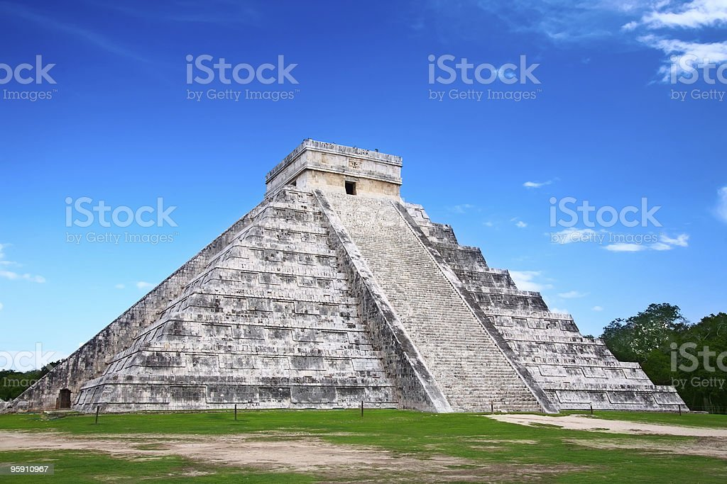 Low level view of Chichen Itza in Mexico stock photo