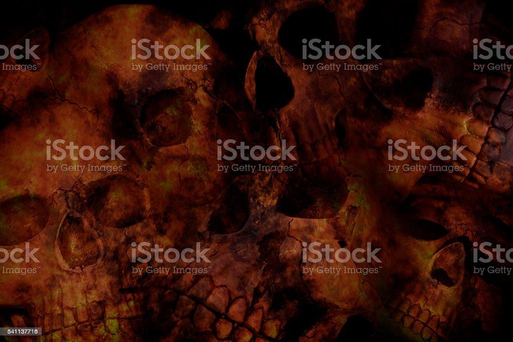 Low light horror skull background stock photo