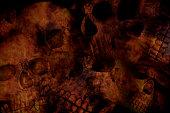 Low light horror skull background
