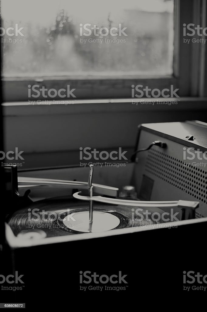 Low lit record player stock photo