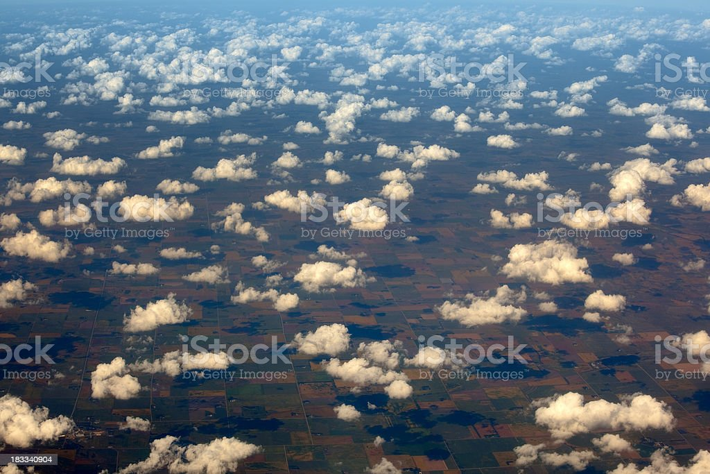 Low Lying Clouds and Shadows, Ariel View stock photo