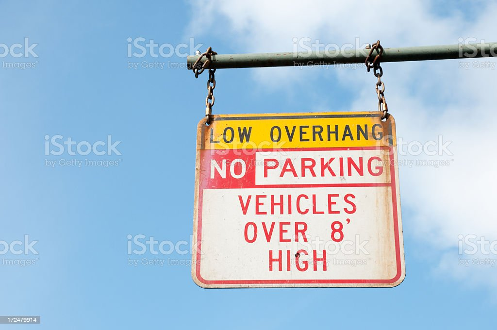 Low Overhang Sign royalty-free stock photo