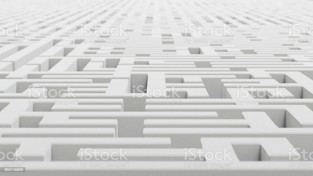 Low Perspective Over of an Endless White Granite Maze stock photo