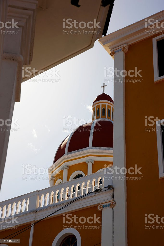 Low point view on the dome of Granada Cathedral, Nicaragua stock photo