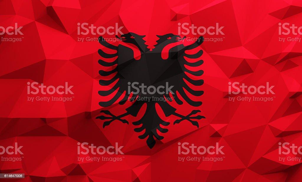 Low poly Albania flag stock photo