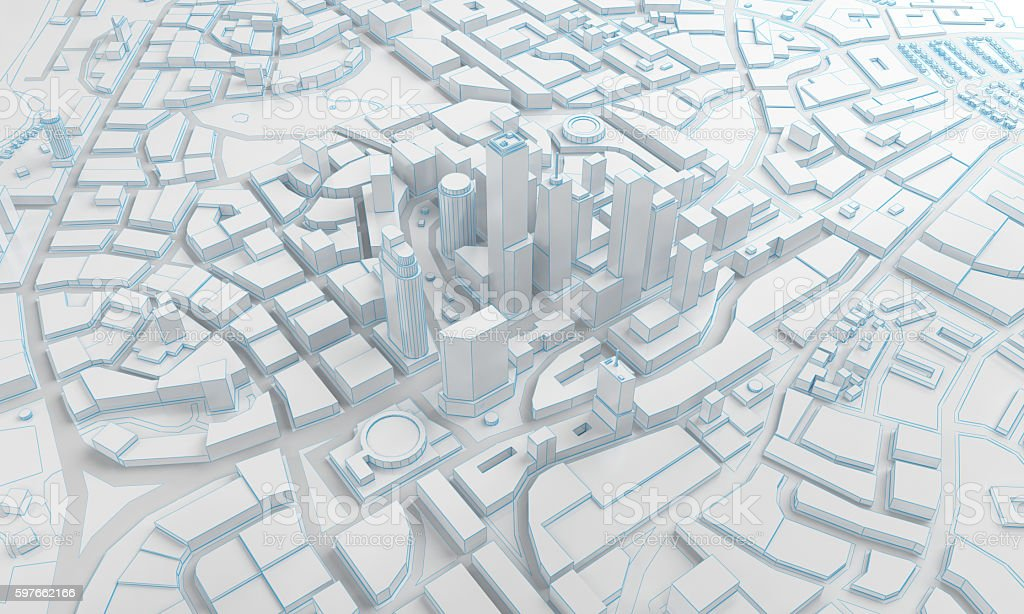 low poly city views from above. 3d rendering stock photo