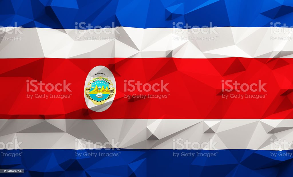 Low poly Costa Rica flag stock photo