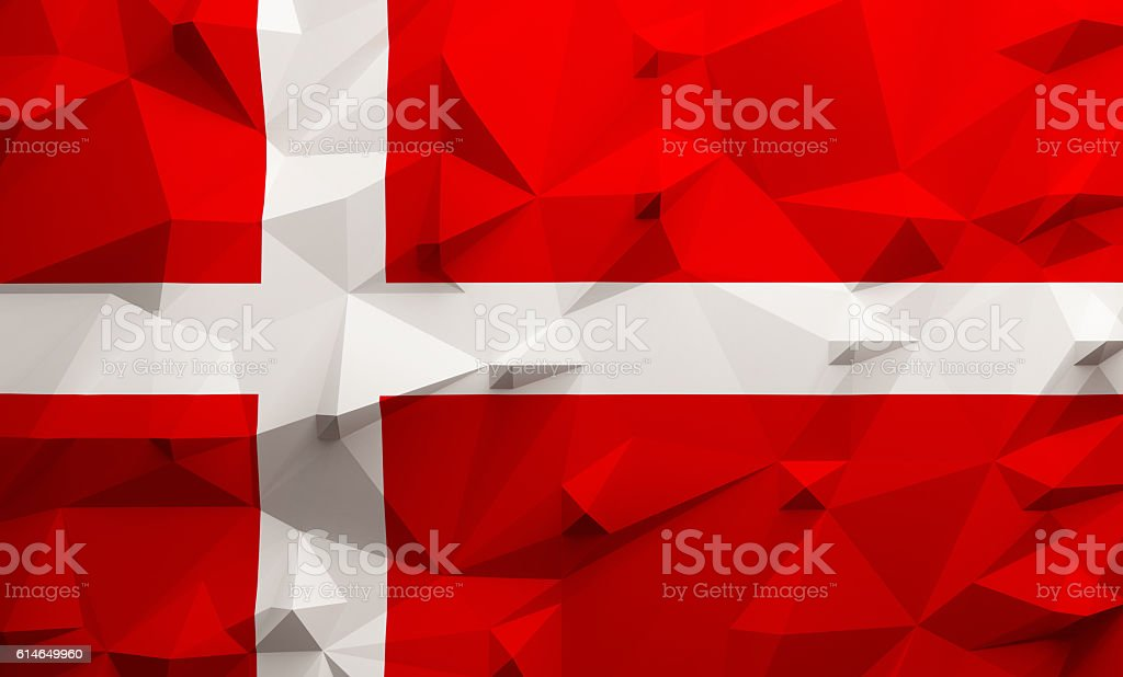 Low poly Denmark flag stock photo