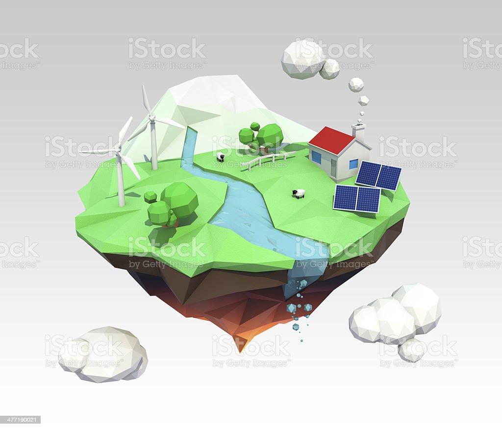 3D low poly floating island for ecology concept royalty-free stock photo