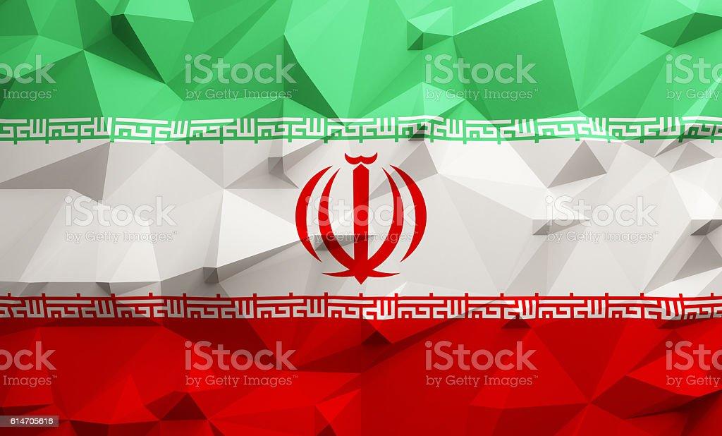 Low poly Iran flag stock photo
