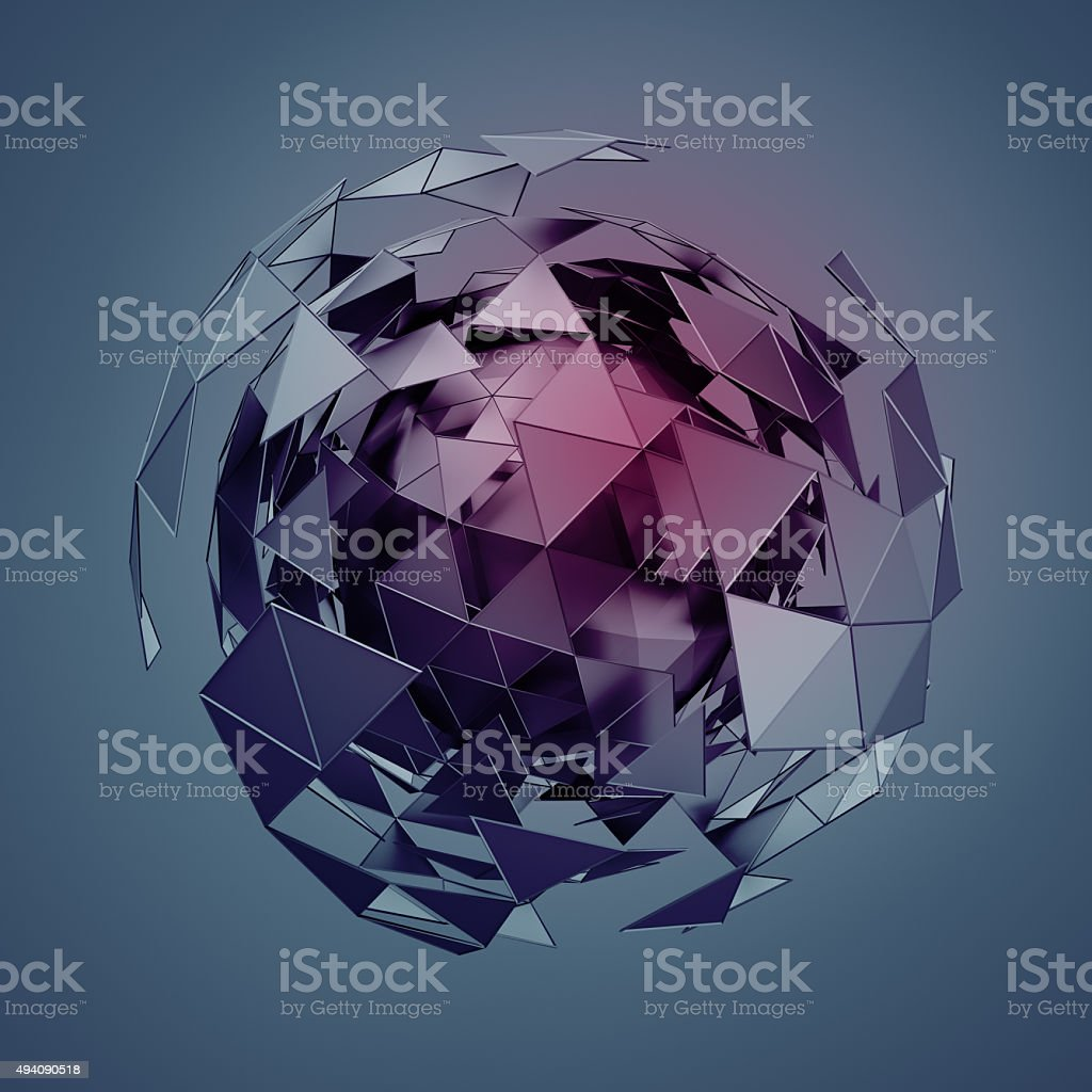 Low Poly Sphere with Chaotic Structure stock photo