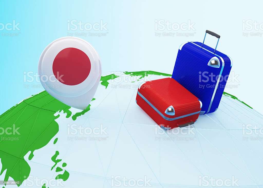 Low poly travel to Japan stock photo
