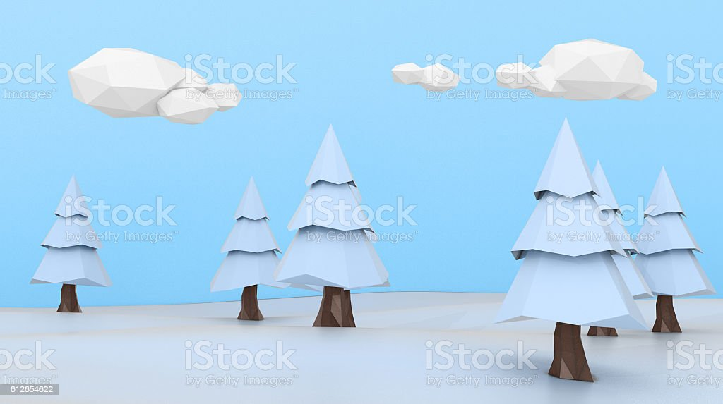 Low poly winter landscape stock photo