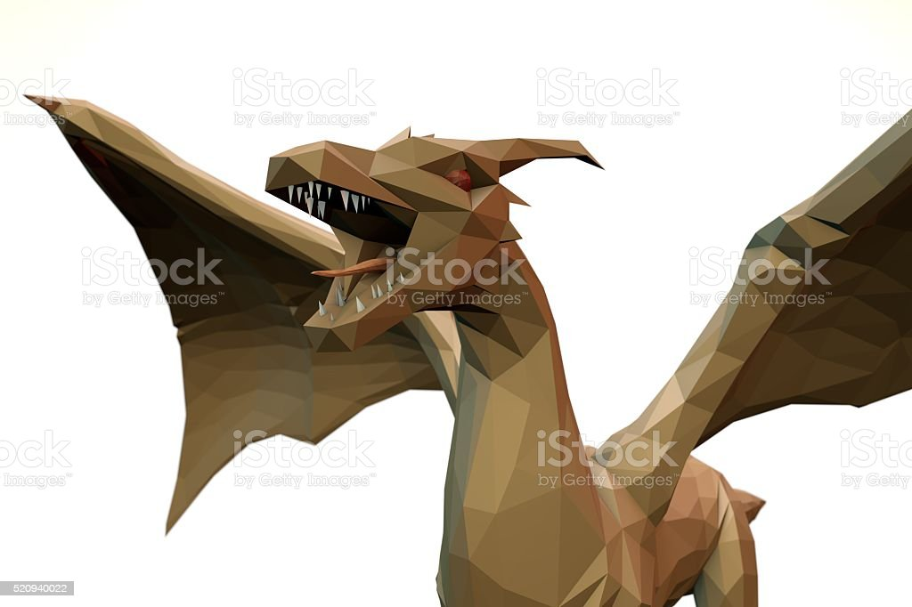 low Polygone Object Dragon front left stock photo