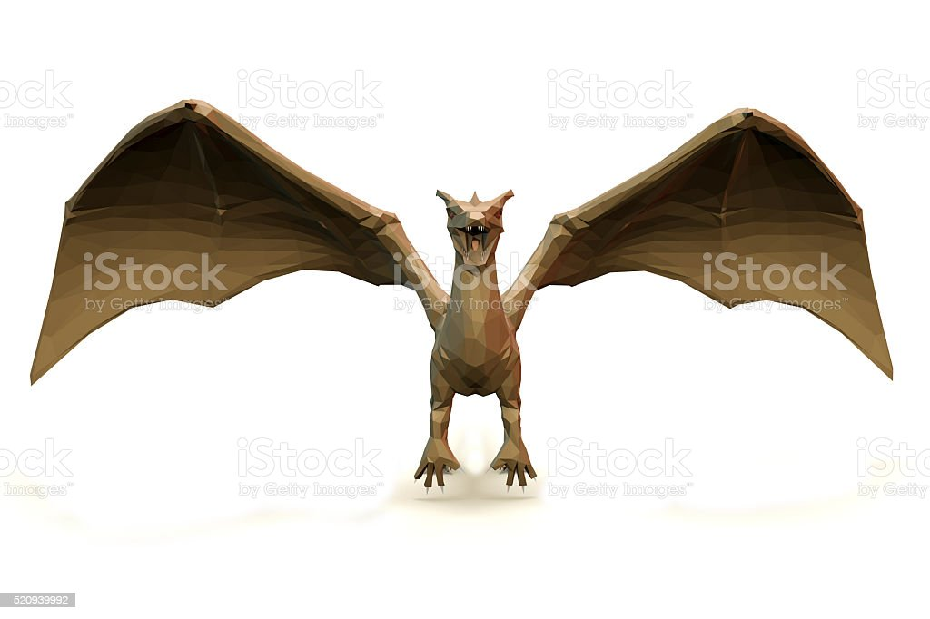 low Polygone Object Dragon front stock photo