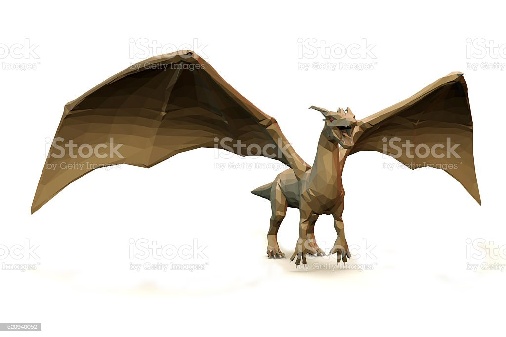 low Polygone Object Dragon right stock photo