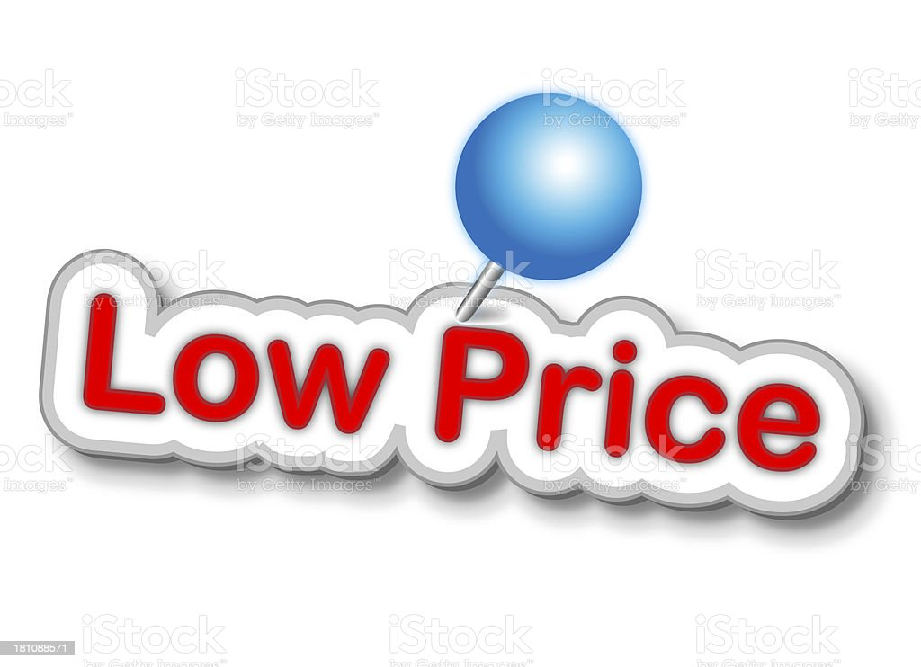 Low Price Sticker With Push Pin royalty-free stock photo
