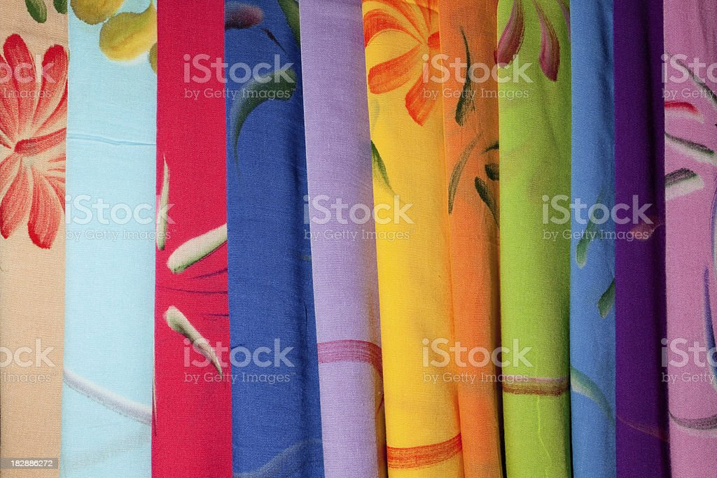 Low priced textiles at Indonesian textile market. stock photo