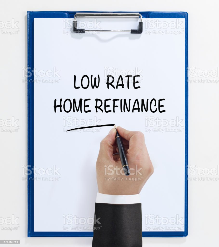 low rate home refinance stock photo