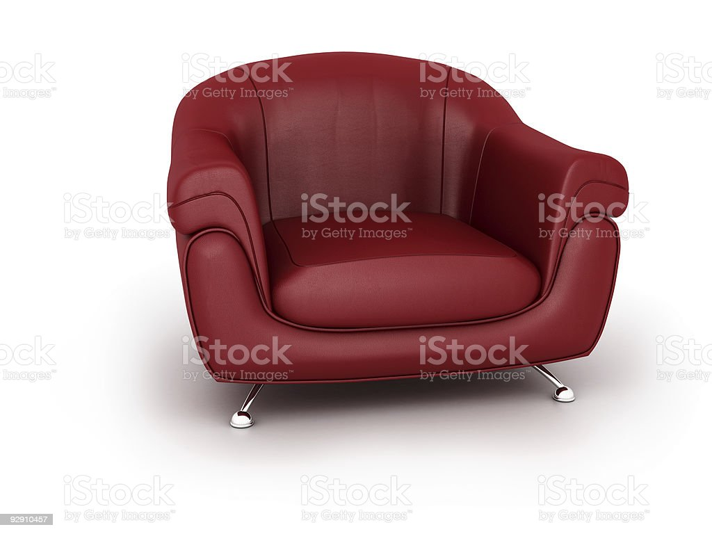 Low, red leather modern easy chair with stainless steel legs royalty-free stock photo