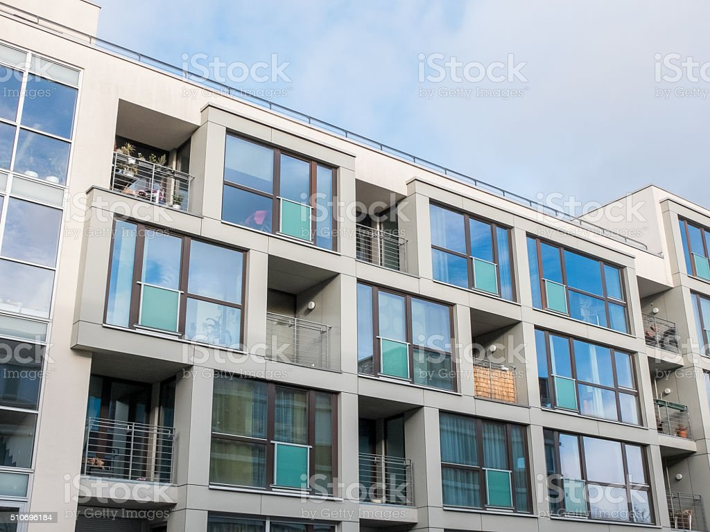 Low Rise Apartment Building With Balconies Stock Photo