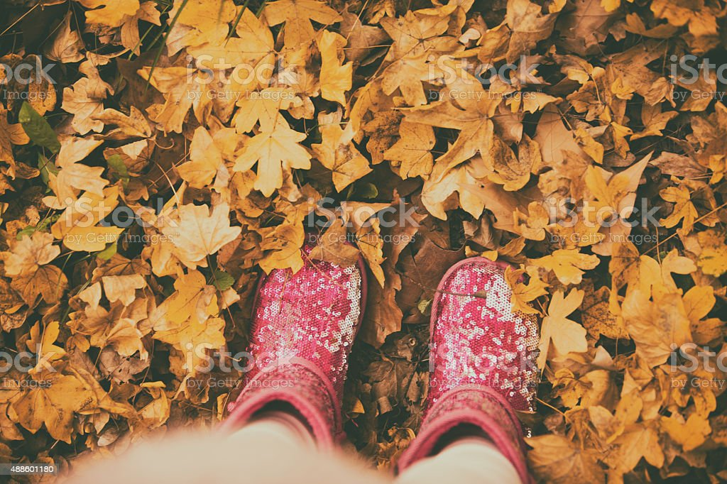 Low section of a girl standing on autumn leaves stock photo
