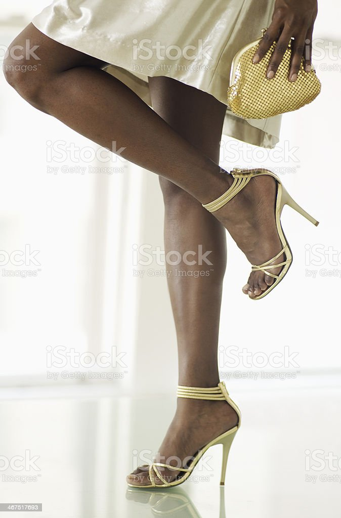 Low Section of Woman in Evening Wear stock photo