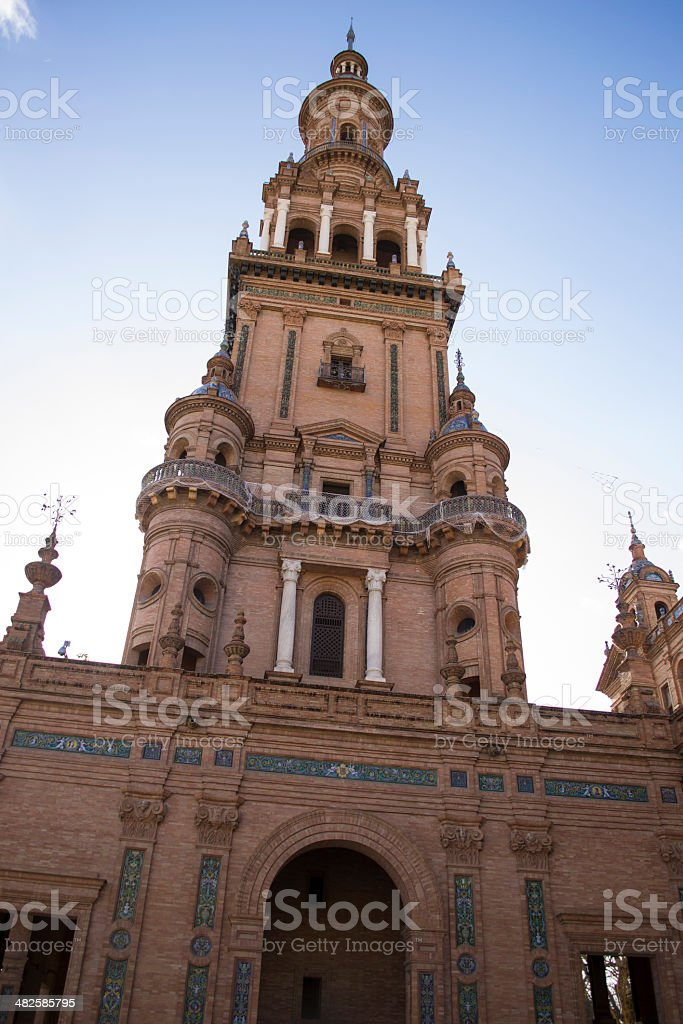 Low shot of Spain´s Square tower royalty-free stock photo