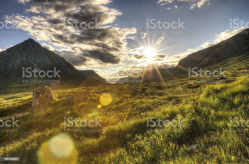 Low sun above Buachaille Etive Mor - HDR stock photo