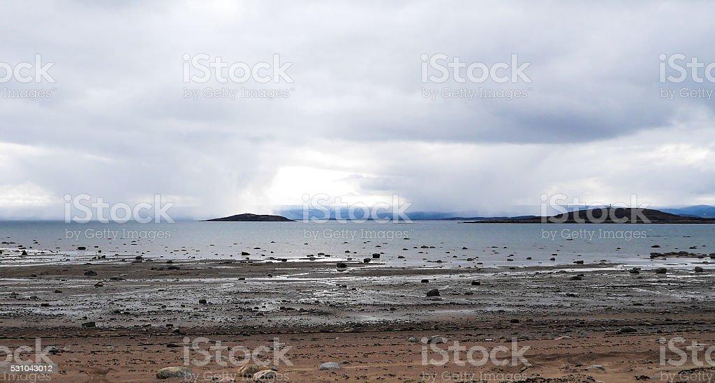 Low Tide - Apex beach, Iqaluit stock photo