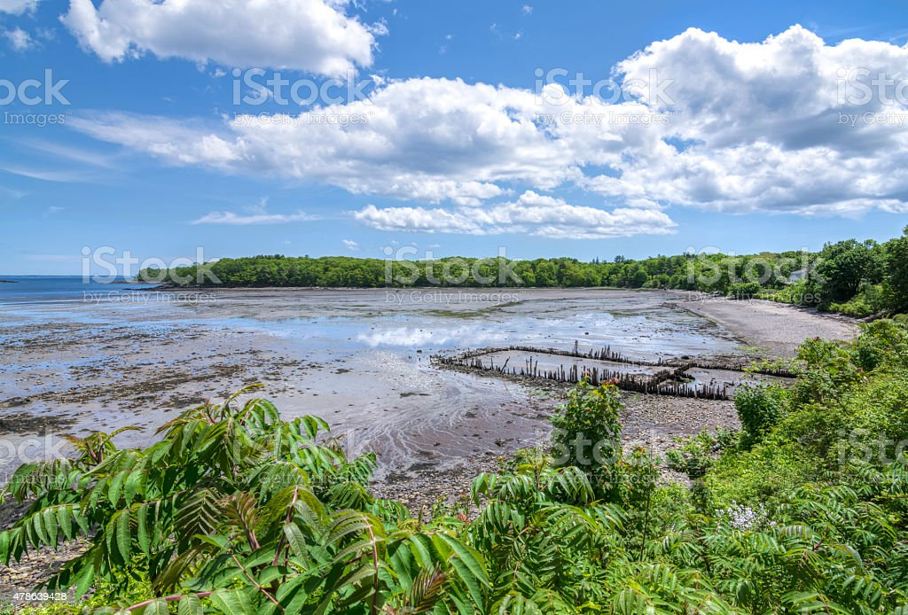 Low tide at beautiful Glen Cove near Rockland, Maine stock photo