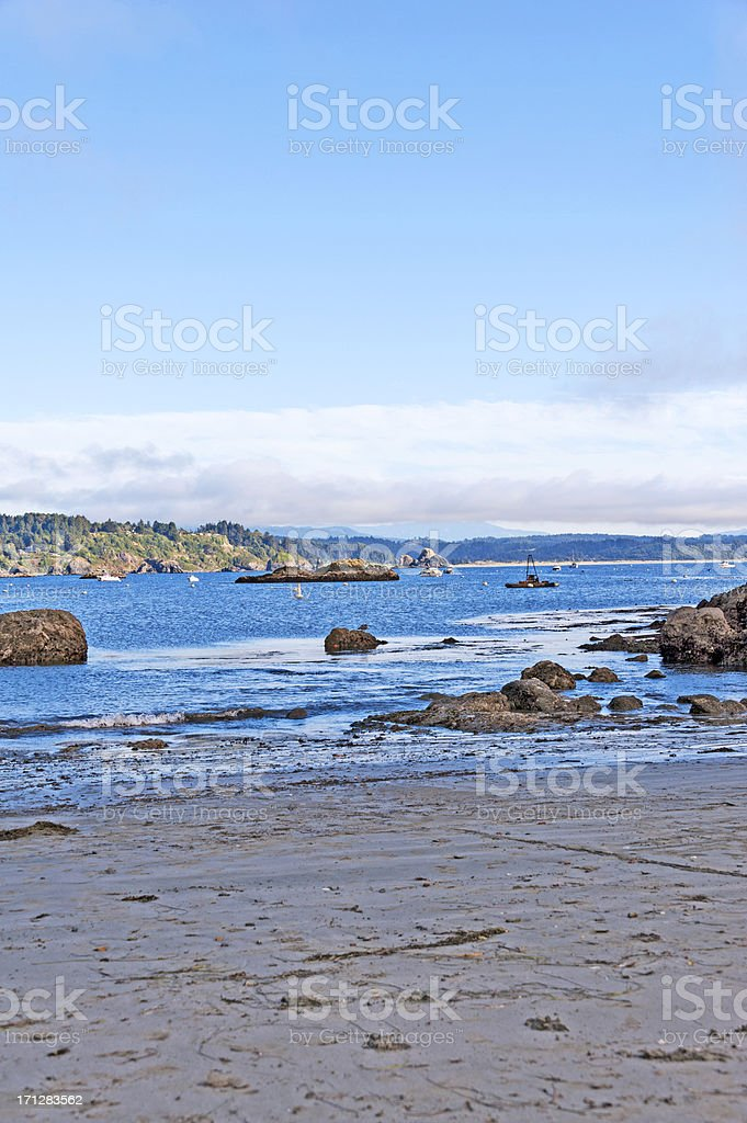 Low tide at coastal inlet with buoy and mountains royalty-free stock photo