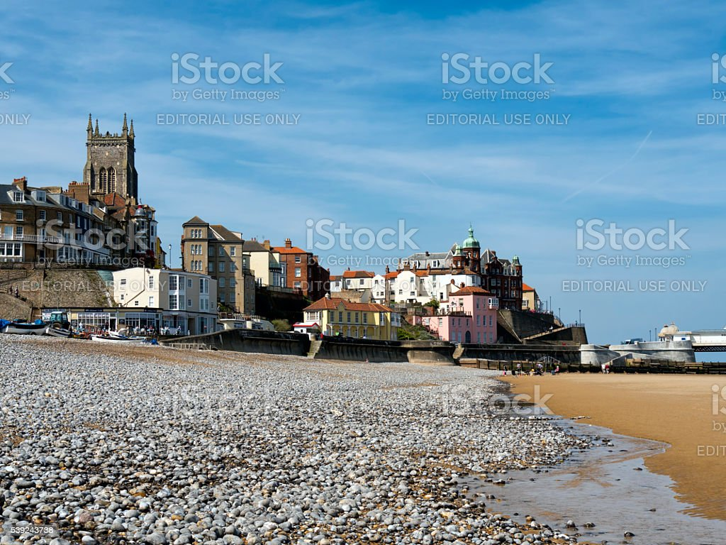 Low tide at Cromer in spring stock photo