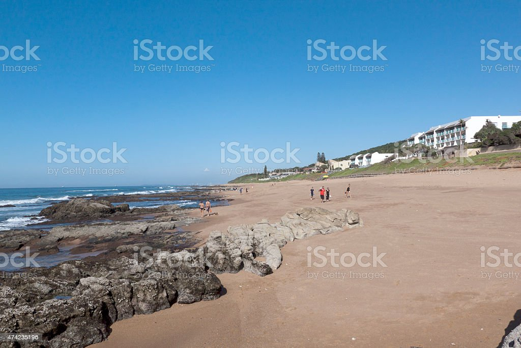 Low Tide at Umdloti Beach, Durban South Africa stock photo