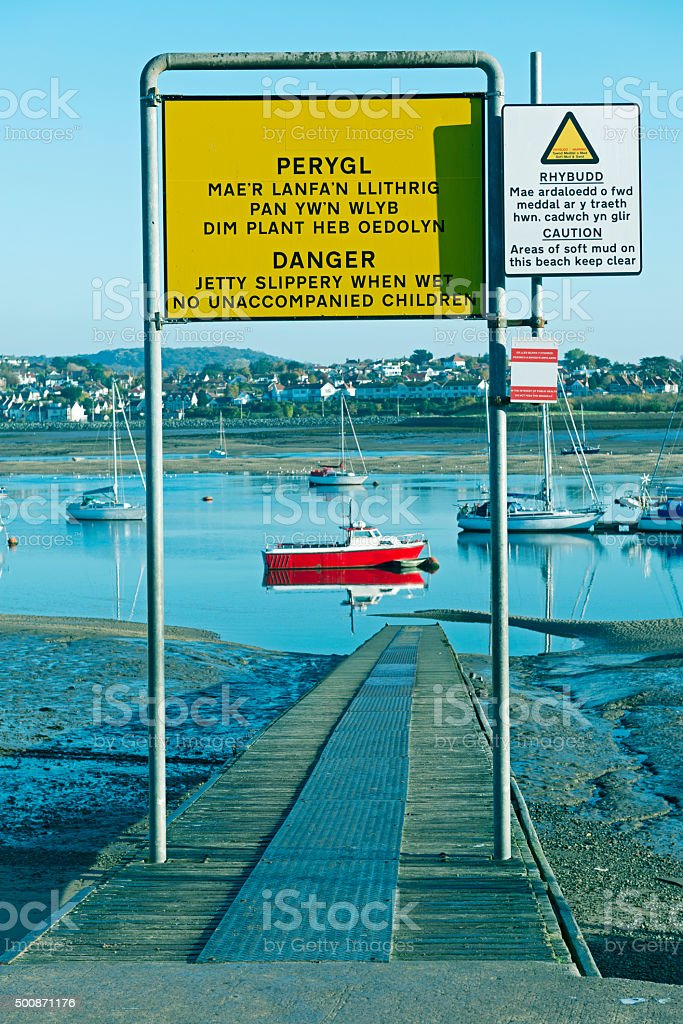 Low tide in bay at Conwy Wales stock photo