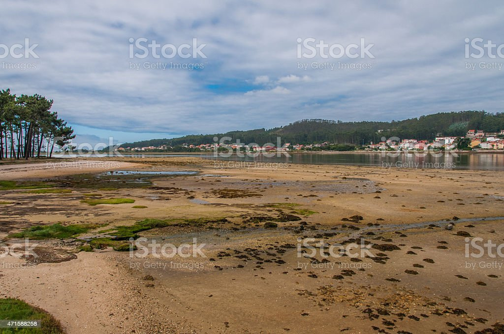 Low tide in O Grove stock photo