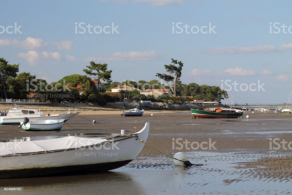 Low tide in the Cap Ferret stock photo