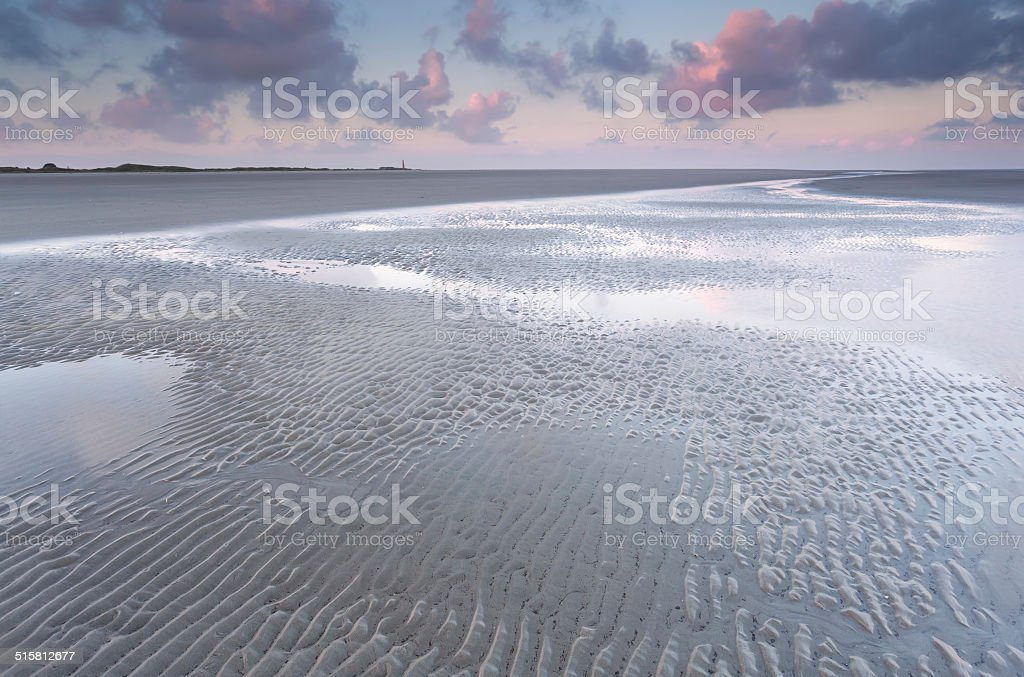 low tide on North sea beach stock photo