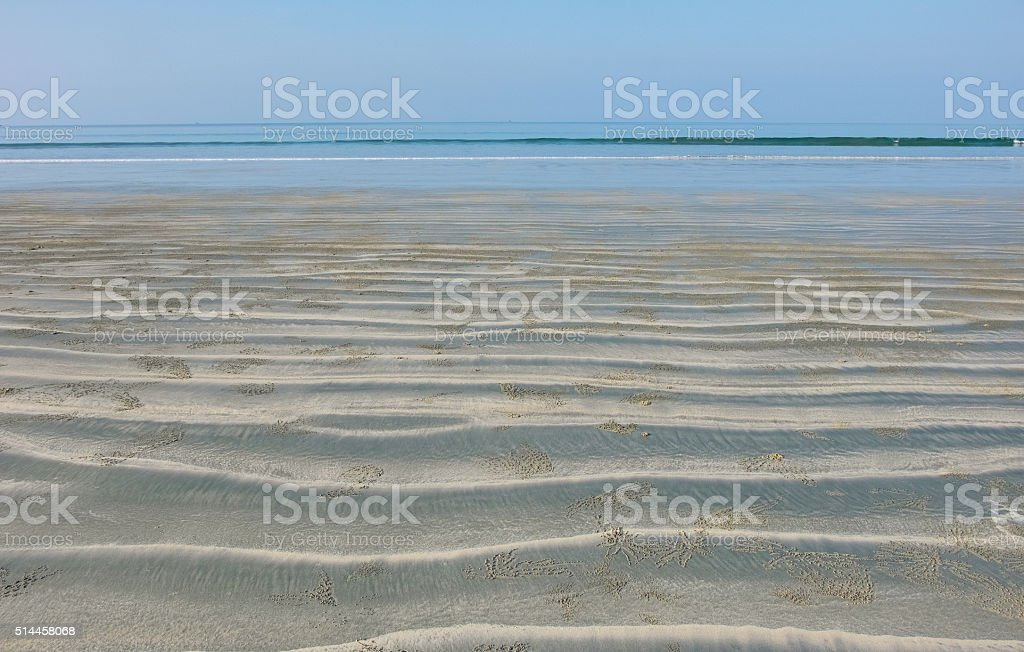 Low tide on the beach stock photo