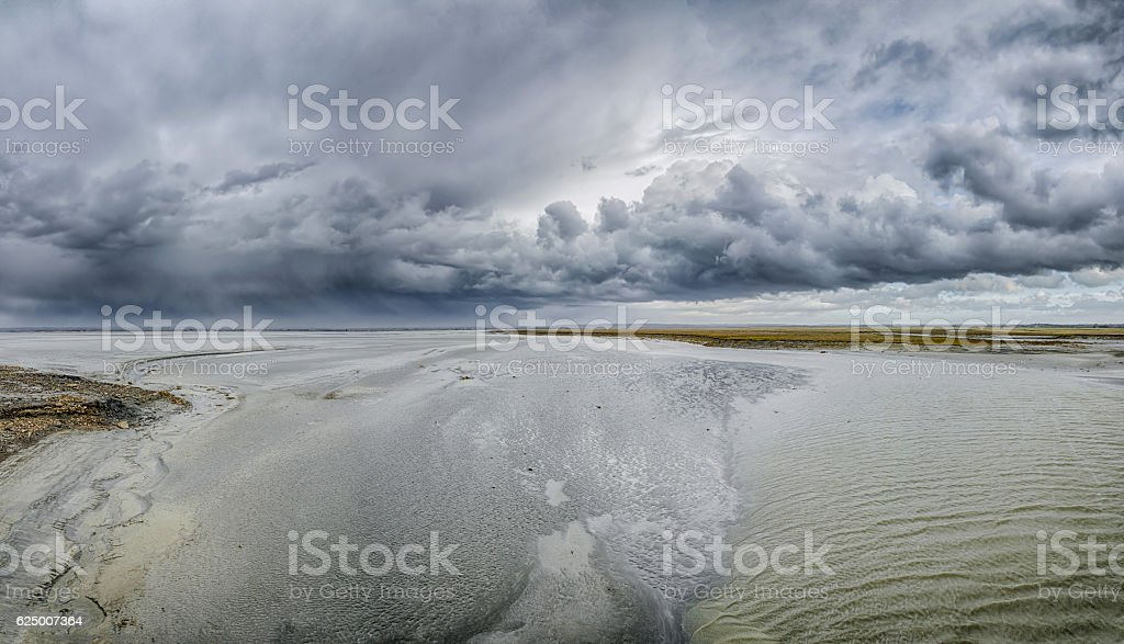 Low tide on the French coast. stock photo