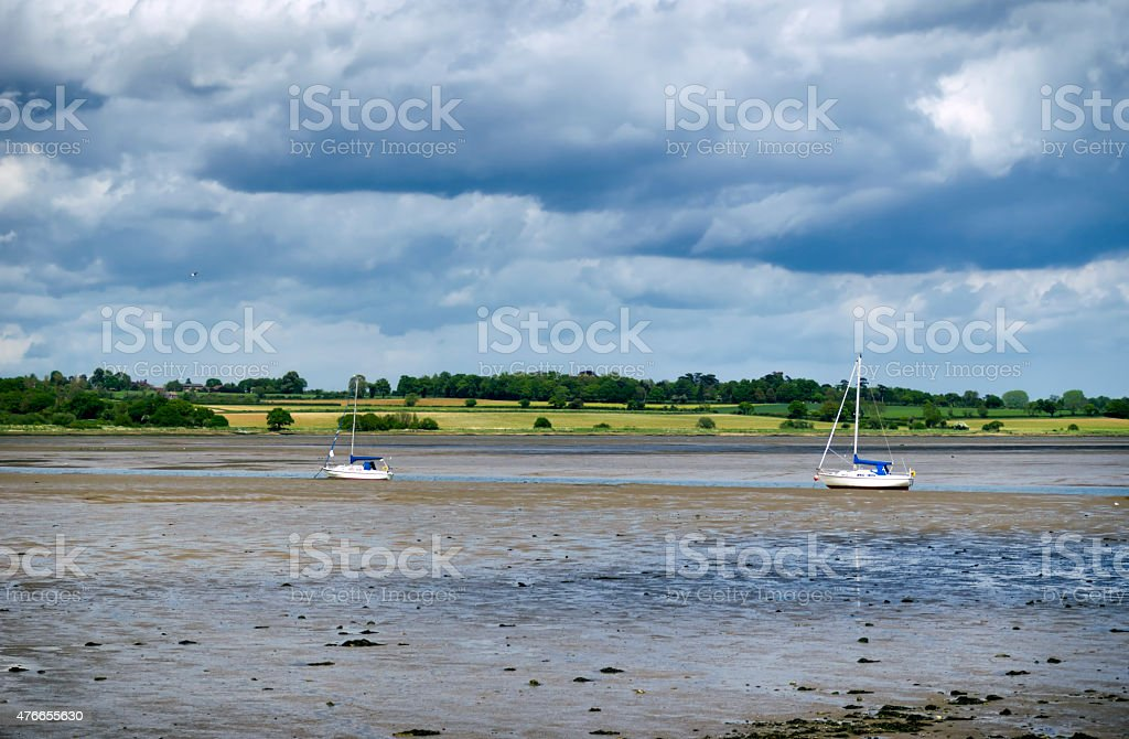 Low tide on the Stour at Mistley stock photo