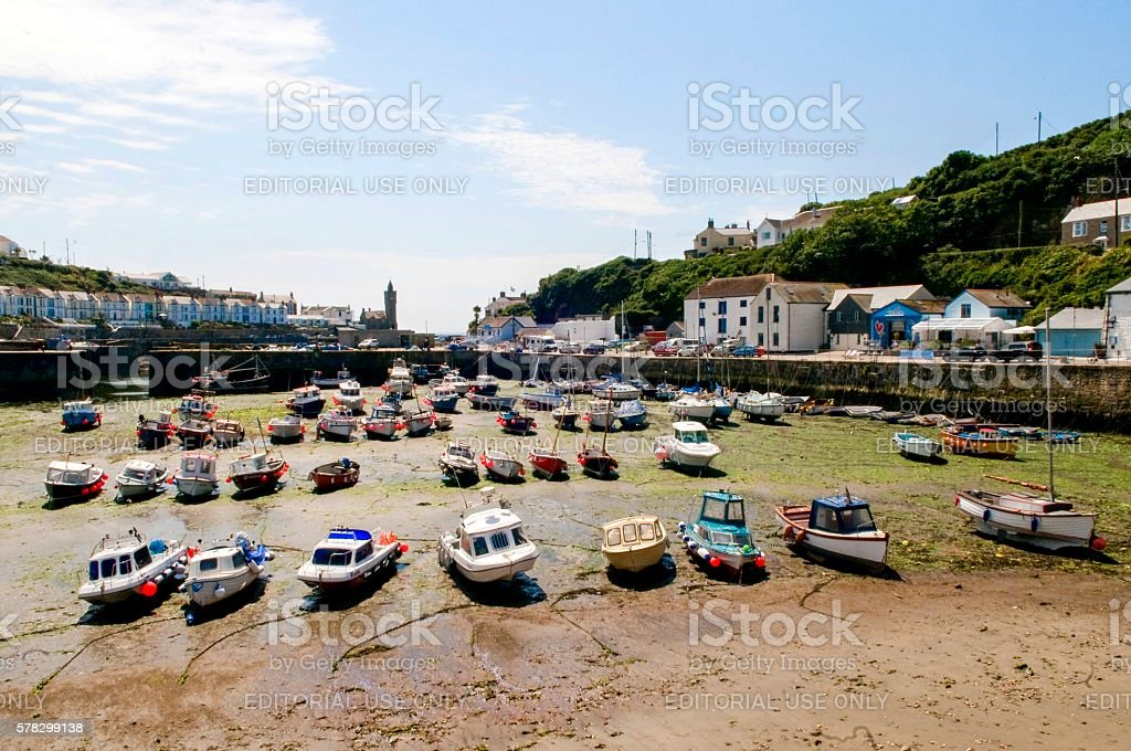 Low Tide Porthleven stock photo