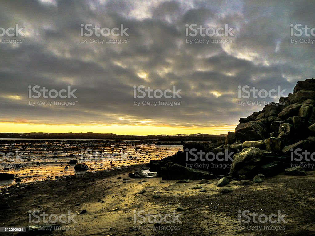 Low tide sunset stock photo
