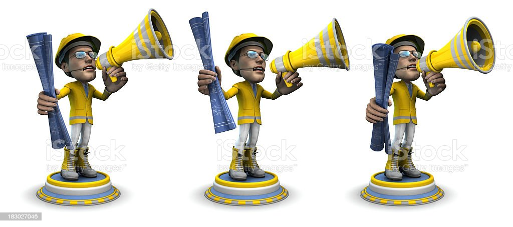 Low View, BubbleHead of Construction Worker with Bullhorn and Blueprint royalty-free stock photo