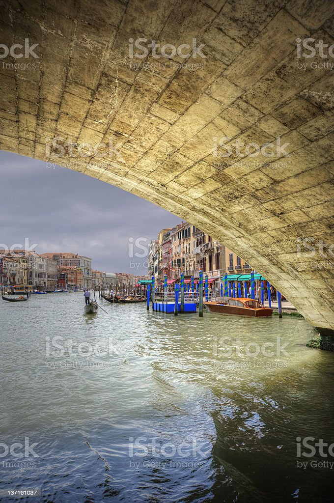Low view through Rialto Bridge along Grand Canal Venice Italy royalty-free stock photo