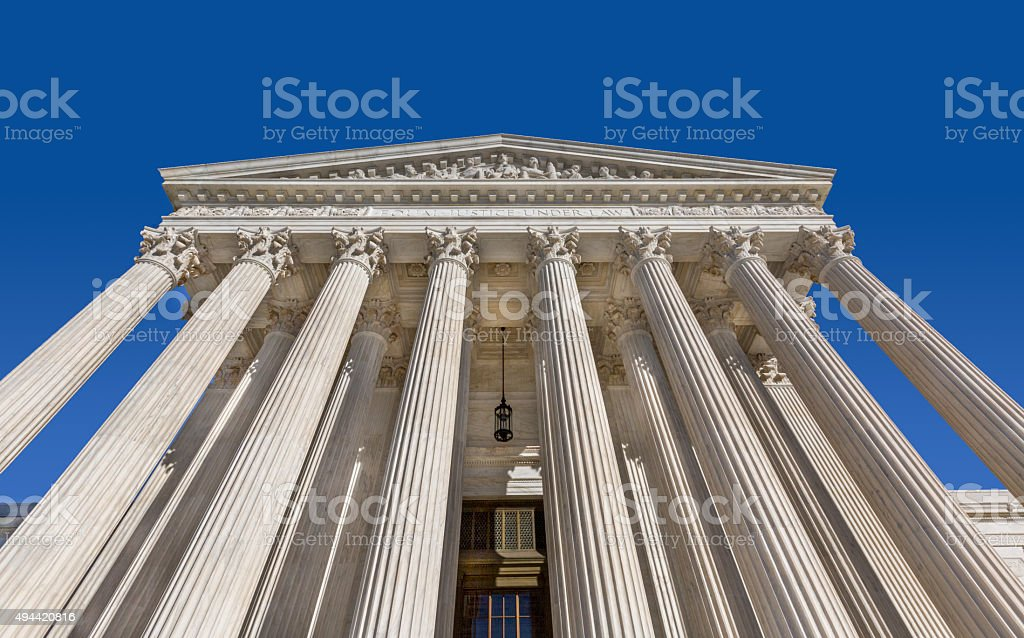 Low wide angle view of the U.S. Supreme Court stock photo