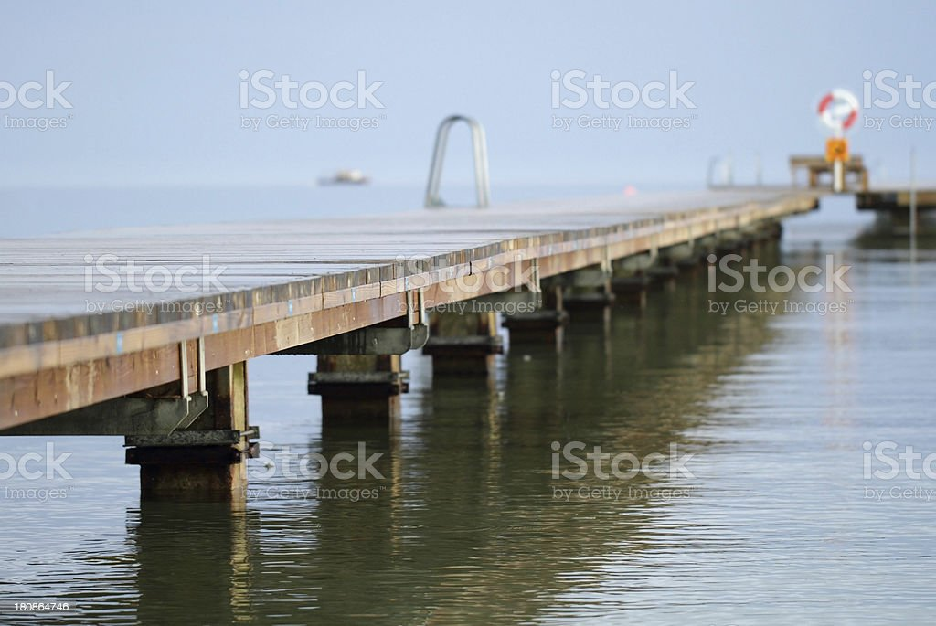 Low wooden pier stock photo